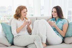 Amis avec des tasses de café conversant à la maison Photographie stock libre de droits