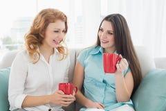 Amis avec des tasses de café conversant à la maison Photo stock