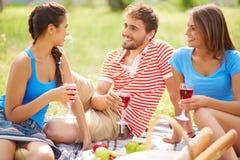Amis avec du vin Photos stock