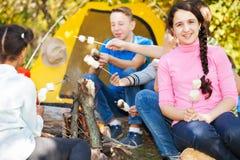 Amis avec la guimauve sur le terrain de camping près du feu Photos libres de droits