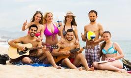 Amis avec la guitare à la plage Image stock