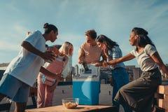Amis avec le réfrigérateur de la bière sur le toit Photographie stock libre de droits