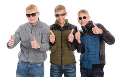 Amis avec les pouces augmentés Photos libres de droits
