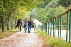 Amis avec leurs chevaux Photos libres de droits