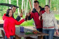 Amis avec un barbecue et une bière sur la nature Photographie stock libre de droits