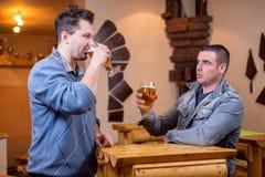 Amis ayant des bières dans le bar Images stock