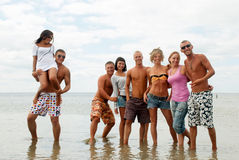 Amis ayant l'amusement à la plage Image stock