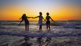 Amis ayant l'amusement éclaboussant des ressacs sur la plage au coucher du soleil Image libre de droits