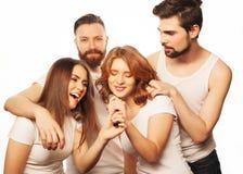 Amis ayant l'amusement au karaoke Image stock