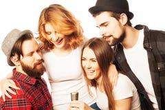 Amis ayant l'amusement au karaoke Image libre de droits