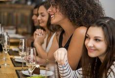 Amis ayant l'amusement au restaurant Photographie stock libre de droits