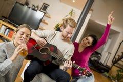 Amis ayant l'amusement avec la guitare Images stock