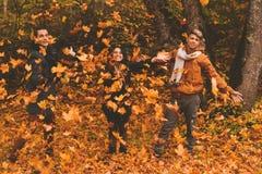Amis ayant l'amusement dans le parc d'automne Photos stock
