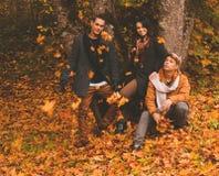 Amis ayant l'amusement dans le parc d'automne Photos libres de droits