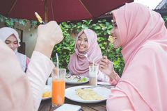 Amis ayant l'amusement ensemble tout en prenant le déjeuner Photo stock