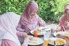 Amis ayant l'amusement ensemble tout en prenant le déjeuner Photographie stock libre de droits