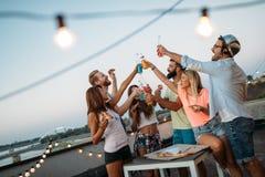 Amis ayant l'amusement et le boire extérieurs sur une réunion de dessus de toit Images libres de droits
