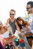Amis ayant l'amusement et le boire extérieurs sur une réunion de dessus de toit Image libre de droits