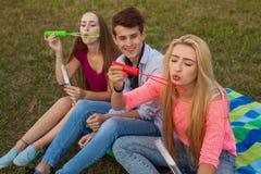 Amis ayant l'amusement et soufflant des bulles de savon dans le parc Photos libres de droits