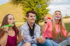 Amis ayant l'amusement et soufflant des bulles de savon dans le parc Image libre de droits