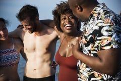 Amis ayant l'amusement sur la plage Photographie stock
