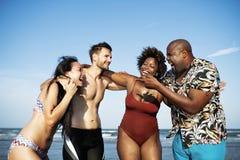 Amis ayant l'amusement sur la plage Photos stock