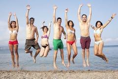 Amis ayant l'amusement sur la plage Images stock