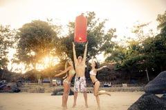 Amis ayant l'amusement sur la plage Photo libre de droits