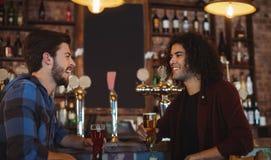 Amis ayant la bière au compteur de barre Image stock
