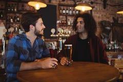 Amis ayant la bière dans le bar Images libres de droits