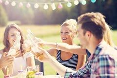Amis ayant la partie de barbecue dans l'arrière-cour Image libre de droits