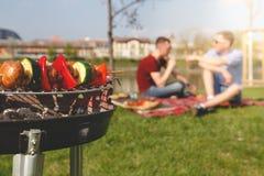 Amis ayant le barbecue extérieur Gril avec le divers barbecue, foyer sélectif Image stock