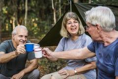 Amis ayant le café à un terrain de camping Photos libres de droits