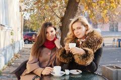 Amis ayant le café dehors Photos stock