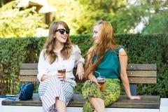 Amis ayant le café sur le banc dehors Image stock