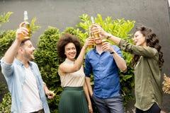 Amis ayant le pain grillé extérieur de réception en plein air avec le cidre alcoolique d Images libres de droits