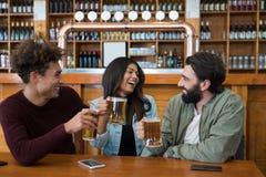 Amis ayant le verre de bière dans la barre Photo libre de droits