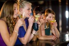 Amis ayant le verre du cocktail dans la barre Image libre de droits