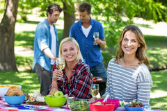 Amis ayant un pique-nique avec du vin et le barbecue Photos libres de droits