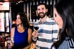 Amis ayant un verre de vin Images libres de droits