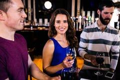 Amis ayant un verre de vin Photographie stock libre de droits