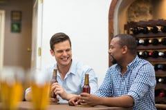 Amis ayant une conversation tout en ayant la bière Photos libres de droits