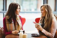 Amis ayant une cuvette de café Image libre de droits
