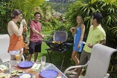 Amis ayant une partie de barbecue Photographie stock libre de droits