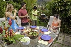 Amis ayant une partie de barbecue Images libres de droits