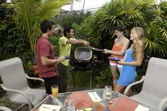 Amis ayant une partie de barbecue Image libre de droits