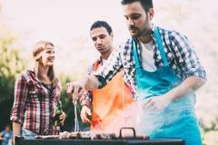 Amis ayant une partie de barbecue en nature Images libres de droits