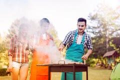Amis ayant une partie de barbecue en nature Image stock