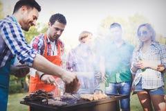 Amis ayant une partie de barbecue en nature Photographie stock