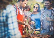 Amis ayant une partie de barbecue en nature Photo libre de droits